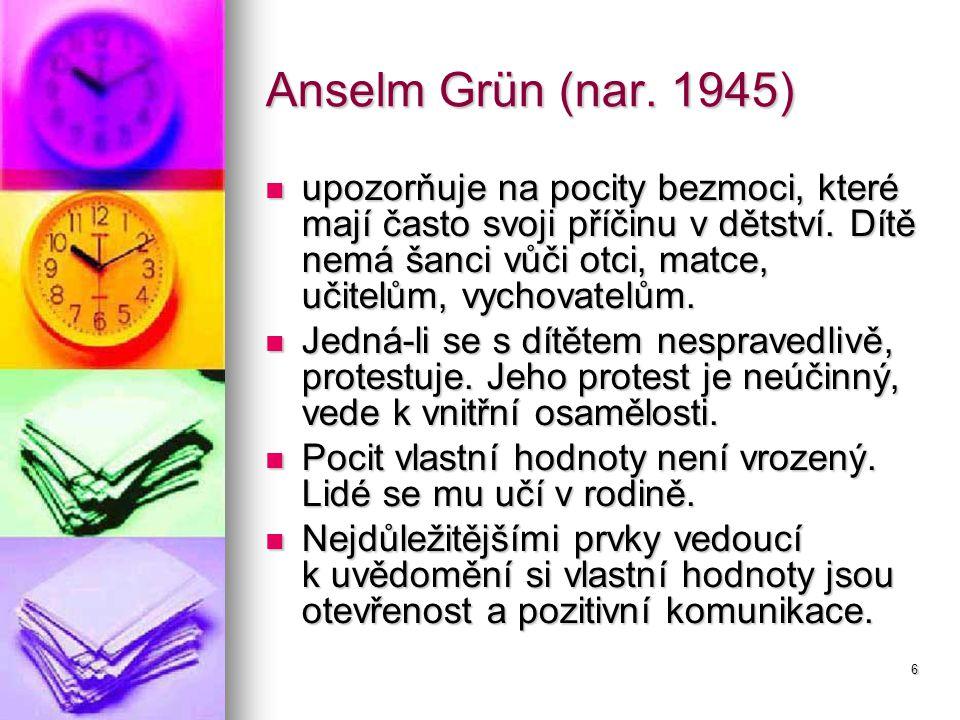 6 Anselm Grün (nar. 1945) upozorňuje na pocity bezmoci, které mají často svoji příčinu v dětství.