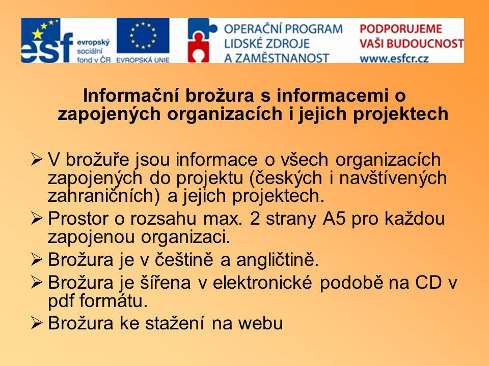 Informační brožura s informacemi o zapojených organizacích i jejich projektech  V brožuře jsou informace o všech organizacích zapojených do projektu (českých i navštívených zahraničních) a jejich projektech.