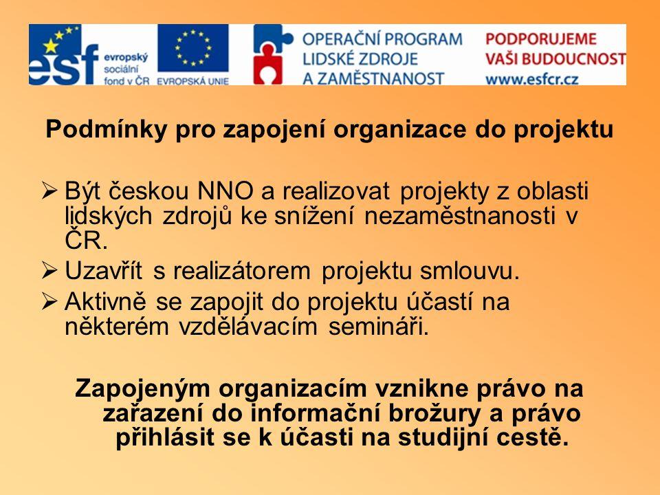Podmínky pro zapojení organizace do projektu  Být českou NNO a realizovat projekty z oblasti lidských zdrojů ke snížení nezaměstnanosti v ČR.  Uzavř