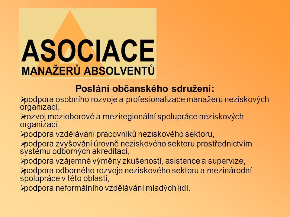 Poslání občanského sdružení:  podpora osobního rozvoje a profesionalizace manažerů neziskových organizací,  rozvoj mezioborové a meziregionální spol
