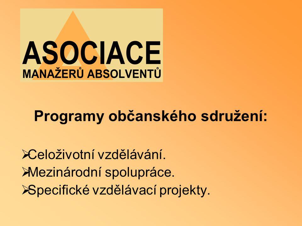 Programy občanského sdružení:  Celoživotní vzdělávání.  Mezinárodní spolupráce.  Specifické vzdělávací projekty.