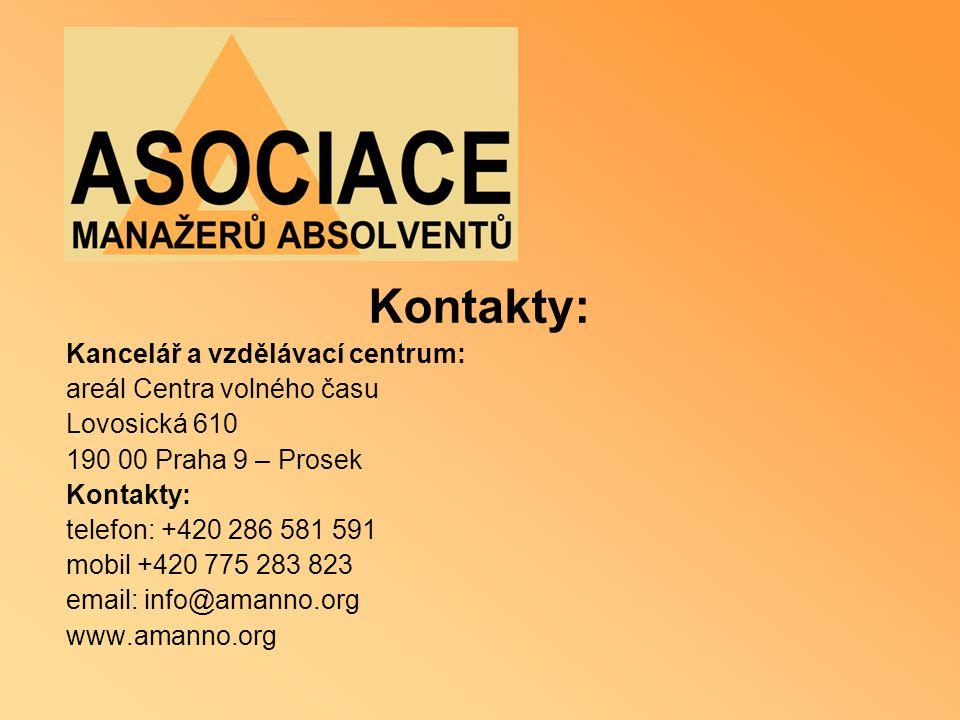 Kontakty: Kancelář a vzdělávací centrum: areál Centra volného času Lovosická 610 190 00 Praha 9 – Prosek Kontakty: telefon: +420 286 581 591 mobil +42