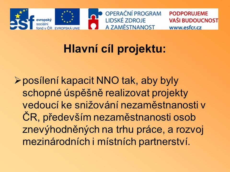 Hlavní cíl projektu:  posílení kapacit NNO tak, aby byly schopné úspěšně realizovat projekty vedoucí ke snižování nezaměstnanosti v ČR, především nezaměstnanosti osob znevýhodněných na trhu práce, a rozvoj mezinárodních i místních partnerství.