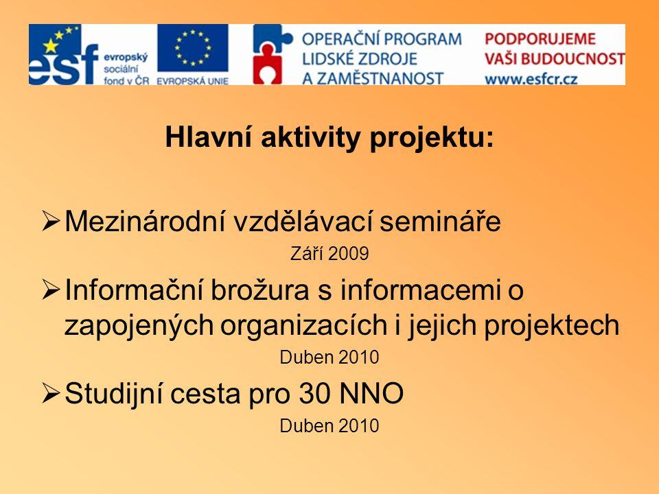 Hlavní aktivity projektu:  Mezinárodní vzdělávací semináře Září 2009  Informační brožura s informacemi o zapojených organizacích i jejich projektech