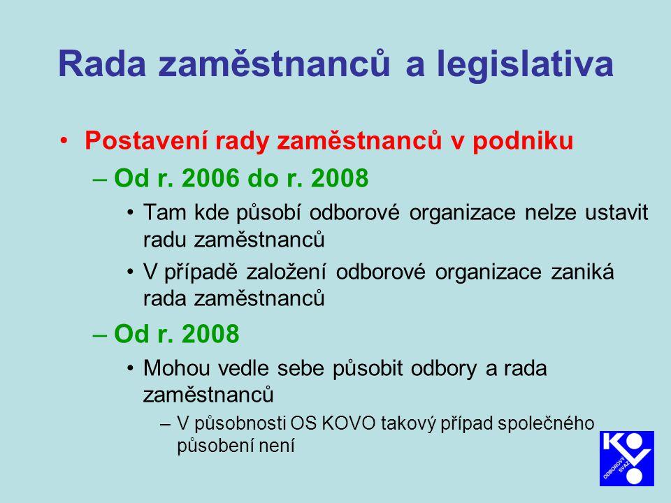 Rada zaměstnanců a legislativa Evropská rada zaměstnanců –Postavení, co má projednávat Zákoník práce § 295 – 299 –Projednává »Organizační uspořádání zaměstnavatele »Pravděpodobný vývoj činnosti »Investice a a podstatné změny organ.