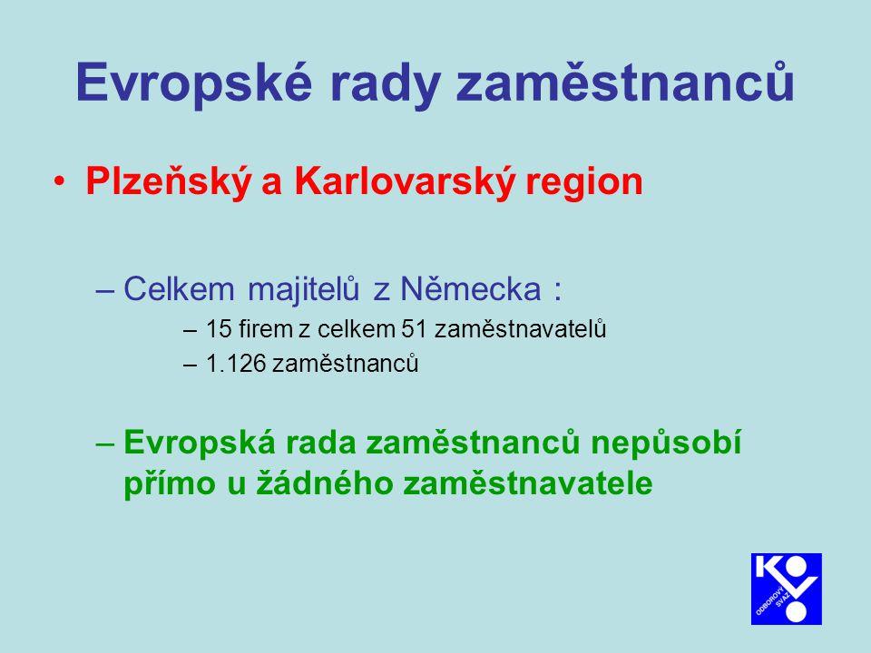 Evropské rady zaměstnanců Plzeňský a Karlovarský region –Celkem majitelů z Německa : –15 firem z celkem 51 zaměstnavatelů –1.126 zaměstnanců –Evropská rada zaměstnanců nepůsobí přímo u žádného zaměstnavatele