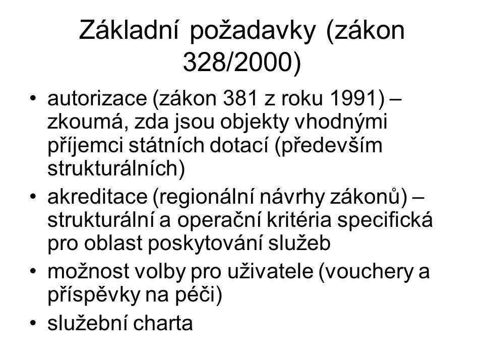 Základní požadavky (zákon 328/2000) autorizace (zákon 381 z roku 1991) – zkoumá, zda jsou objekty vhodnými příjemci státních dotací (především strukturálních) akreditace (regionální návrhy zákonů) – strukturální a operační kritéria specifická pro oblast poskytování služeb možnost volby pro uživatele (vouchery a příspěvky na péči) služební charta