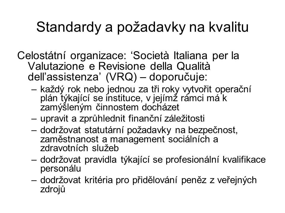 Standardy a požadavky na kvalitu Celostátní organizace: 'Società Italiana per la Valutazione e Revisione della Qualità dell'assistenza' (VRQ) – doporučuje: –každý rok nebo jednou za tři roky vytvořit operační plán týkající se instituce, v jejímž rámci má k zamýšleným činnostem docházet –upravit a zprůhlednit finanční záležitosti –dodržovat statutární požadavky na bezpečnost, zaměstnanost a management sociálních a zdravotních služeb –dodržovat pravidla týkající se profesionální kvalifikace personálu –dodržovat kritéria pro přidělování peněz z veřejných zdrojů