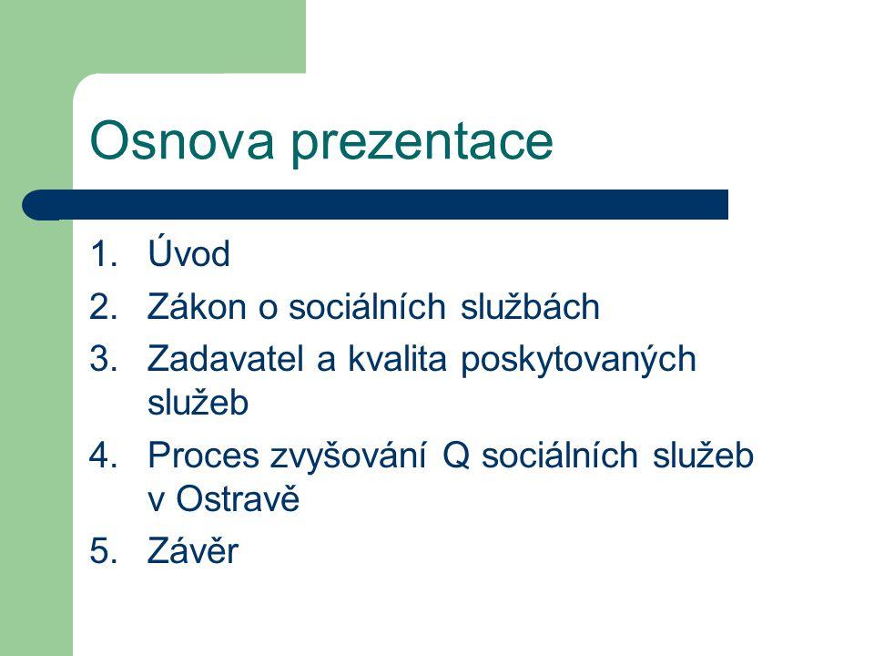 Osnova prezentace 1.Úvod 2.Zákon o sociálních službách 3.Zadavatel a kvalita poskytovaných služeb 4.Proces zvyšování Q sociálních služeb v Ostravě 5.Z