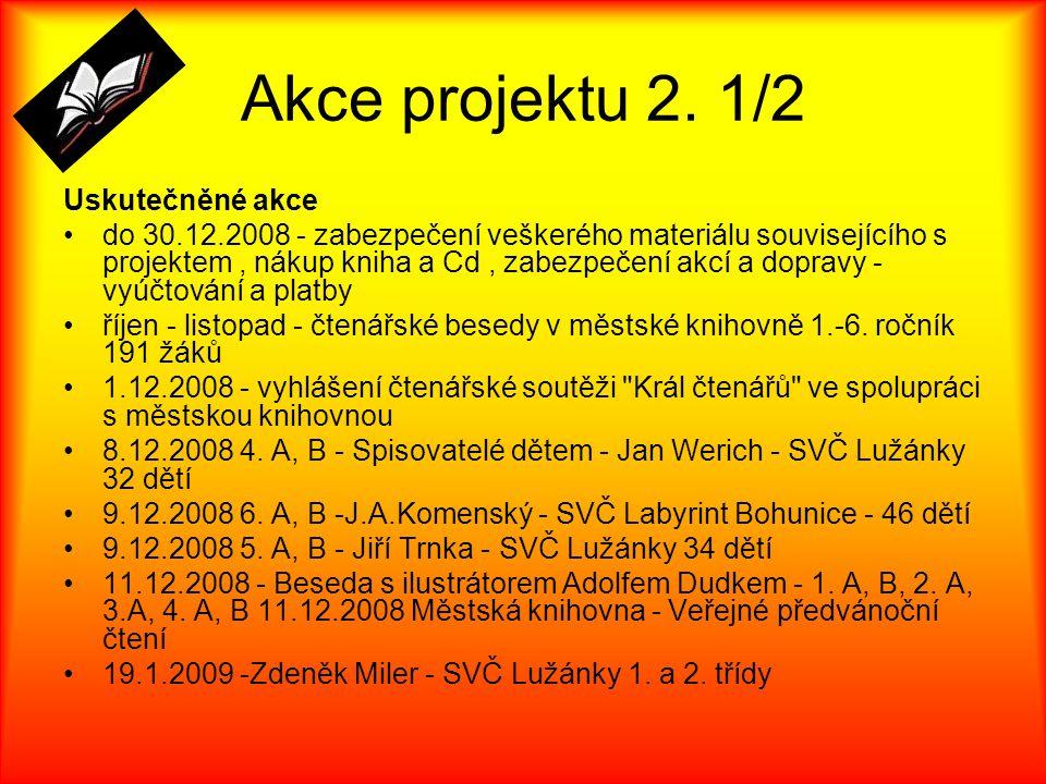Akce projektu 2. 1/2 Uskutečněné akce do 30.12.2008 - zabezpečení veškerého materiálu souvisejícího s projektem, nákup kniha a Cd, zabezpečení akcí a