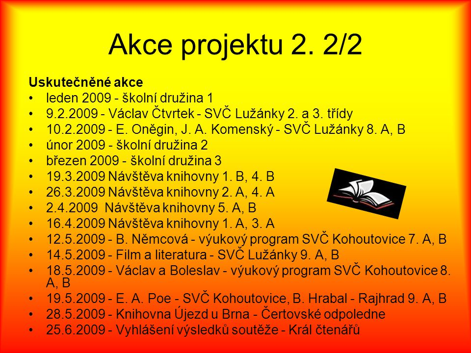 Akce projektu 2. 2/2 Uskutečněné akce leden 2009 - školní družina 1 9.2.2009 - Václav Čtvrtek - SVČ Lužánky 2. a 3. třídy 10.2.2009 - E. Oněgin, J. A.
