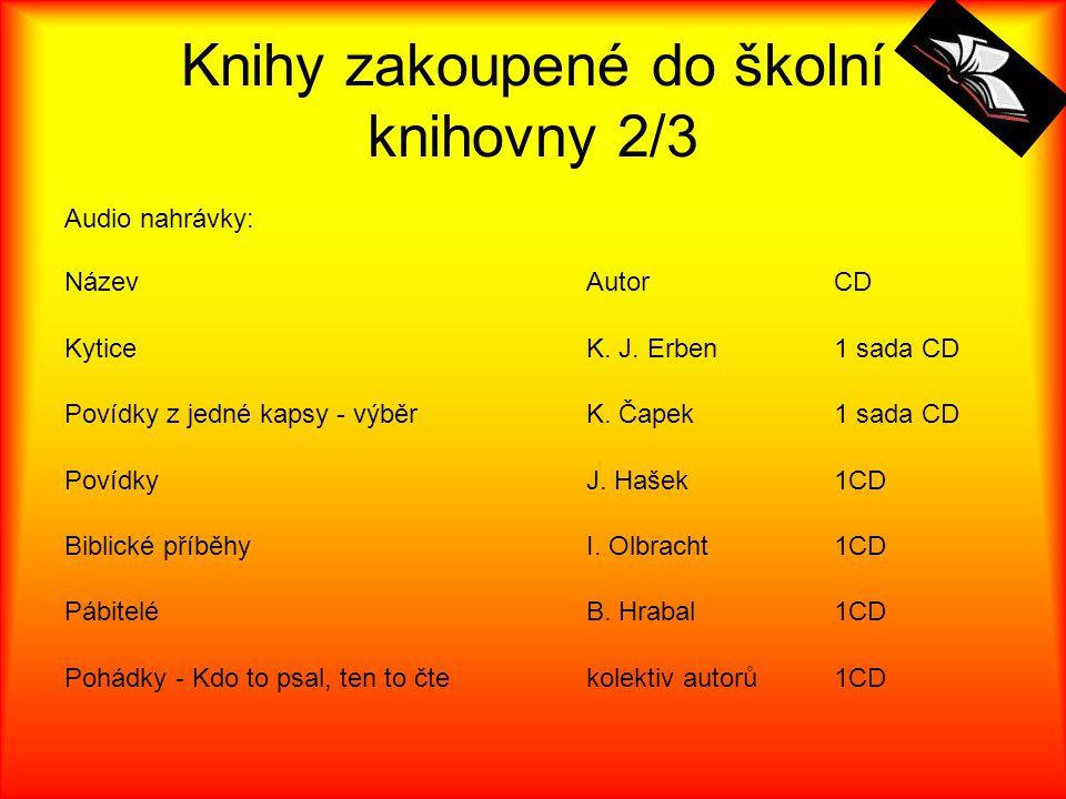 Knihy zakoupené do školní knihovny 2/3 Audio nahrávky: NázevAutorCD KyticeK. J. Erben1 sada CD Povídky z jedné kapsy - výběrK. Čapek1 sada CD PovídkyJ