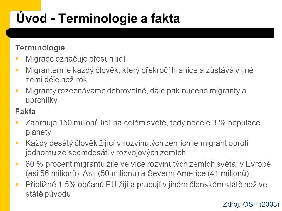 Úvod - Terminologie a fakta Terminologie  Migrace označuje přesun lidí  Migrantem je každý člověk, který překročí hranice a zůstává v jiné zemi déle