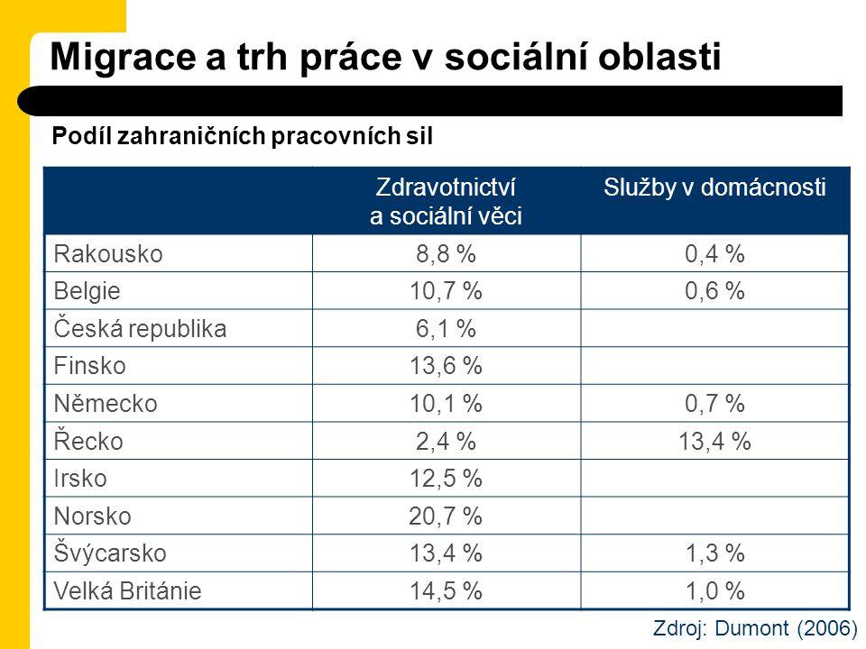 Migrace a trh práce v sociální oblasti Zdravotnictví a sociální věci Služby v domácnosti Rakousko8,8 %0,4 % Belgie10,7 %0,6 % Česká republika6,1 % Fin
