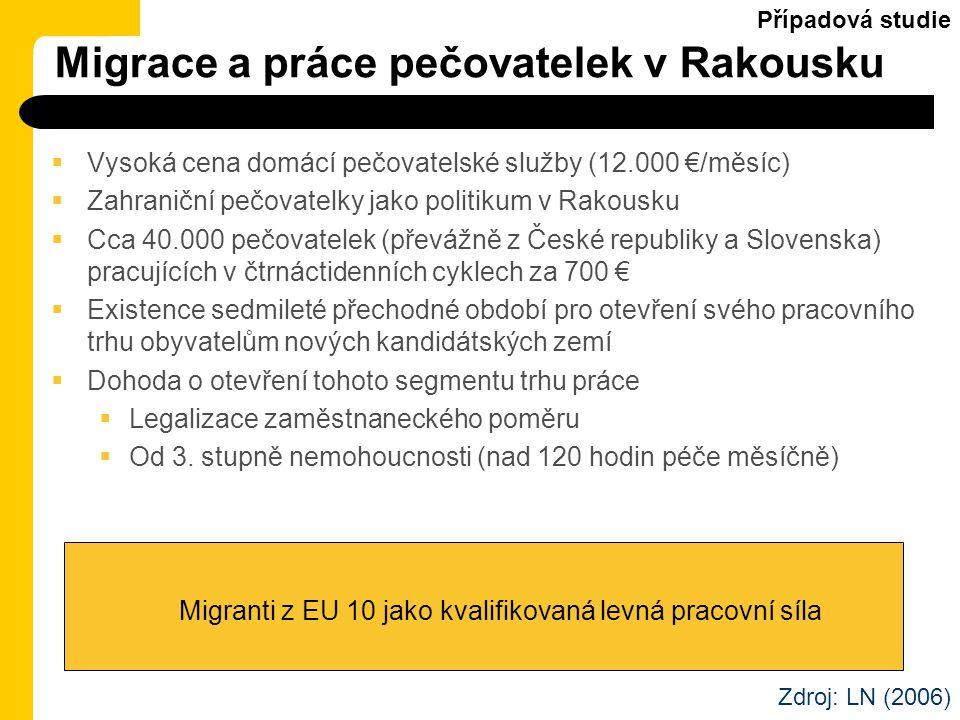 Migrace a práce pečovatelek v Rakousku  Vysoká cena domácí pečovatelské služby (12.000 €/měsíc)  Zahraniční pečovatelky jako politikum v Rakousku 