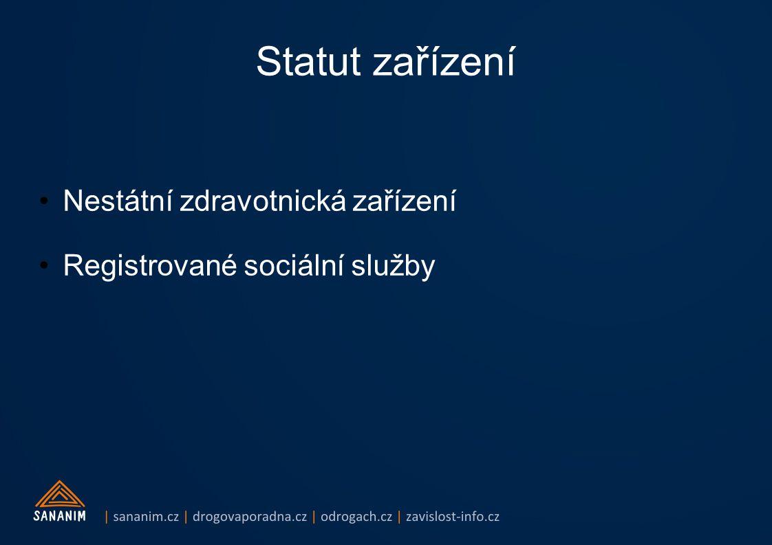 Statut zařízení Nestátní zdravotnická zařízení Registrované sociální služby