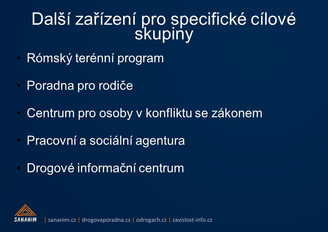 Další zařízení pro specifické cílové skupiny Rómský terénní program Poradna pro rodiče Centrum pro osoby v konfliktu se zákonem Pracovní a sociální agentura Drogové informační centrum