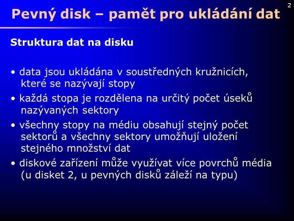 2 Pevný disk – pamět pro ukládání dat Struktura dat na disku data jsou ukládána v soustředných kružnicích, které se nazývají stopy každá stopa je rozd