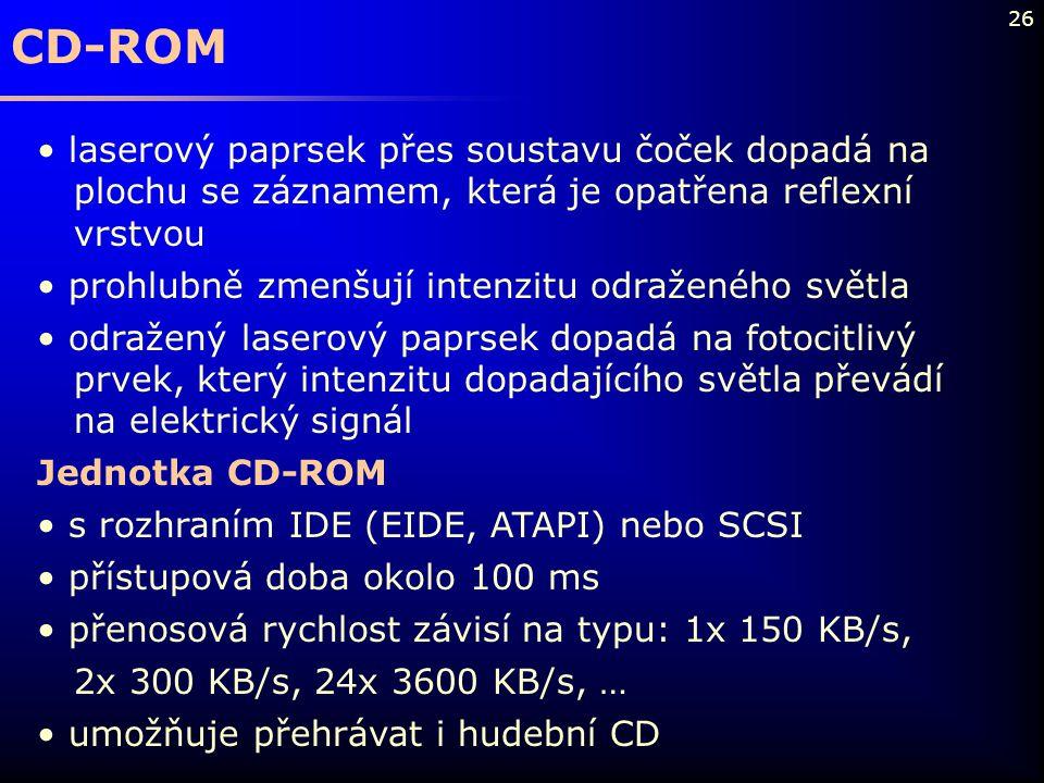 26 CD-ROM laserový paprsek přes soustavu čoček dopadá na plochu se záznamem, která je opatřena reflexní vrstvou prohlubně zmenšují intenzitu odraženéh