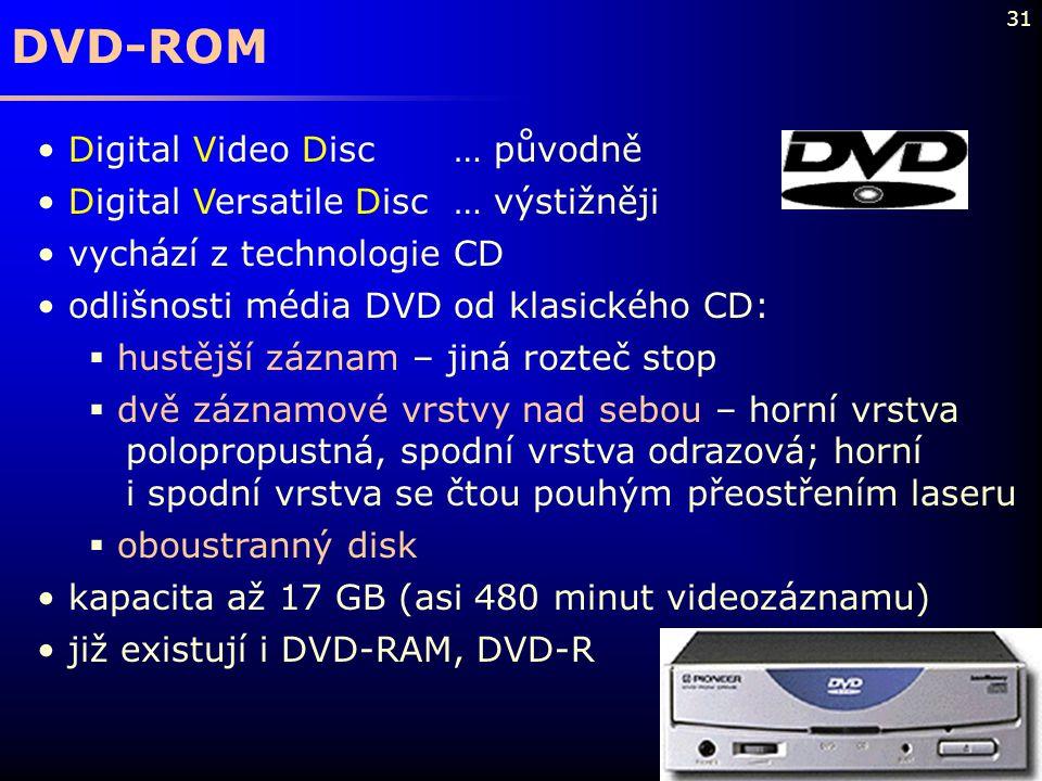 31 DVD-ROM Digital Video Disc… původně Digital Versatile Disc… výstižněji vychází z technologie CD odlišnosti média DVD od klasického CD:  hustější z