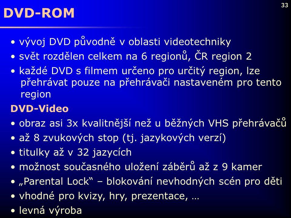 33 DVD-ROM vývoj DVD původně v oblasti videotechniky svět rozdělen celkem na 6 regionů, ČR region 2 každé DVD s filmem určeno pro určitý region, lze p