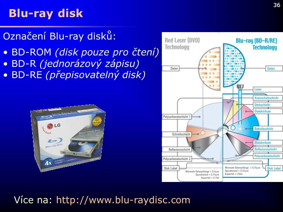 36 Označení Blu-ray disků: BD-ROM (disk pouze pro čtení) BD-R (jednorázový zápisu) BD-RE (přepisovatelný disk) Blu-ray disk Více na: http://www.blu-ra