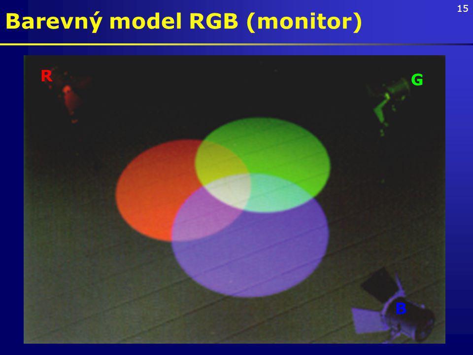 15 Barevný model RGB (monitor) R G B