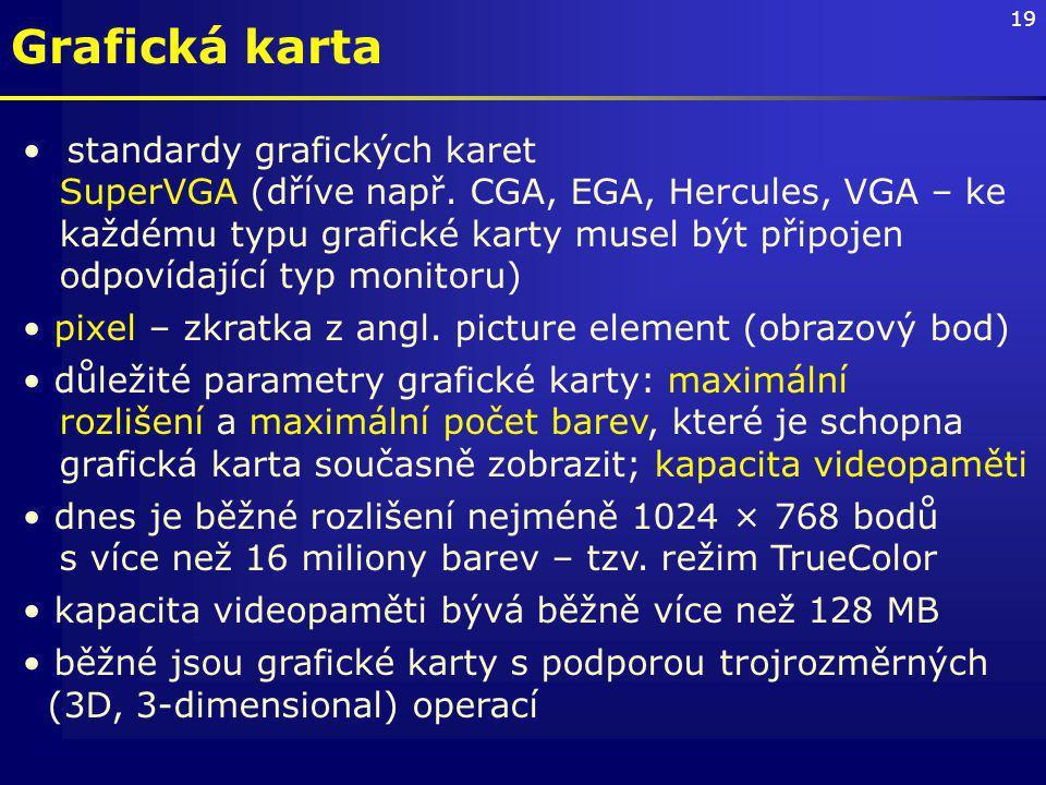 19 Grafická karta standardy grafických karet SuperVGA (dříve např.