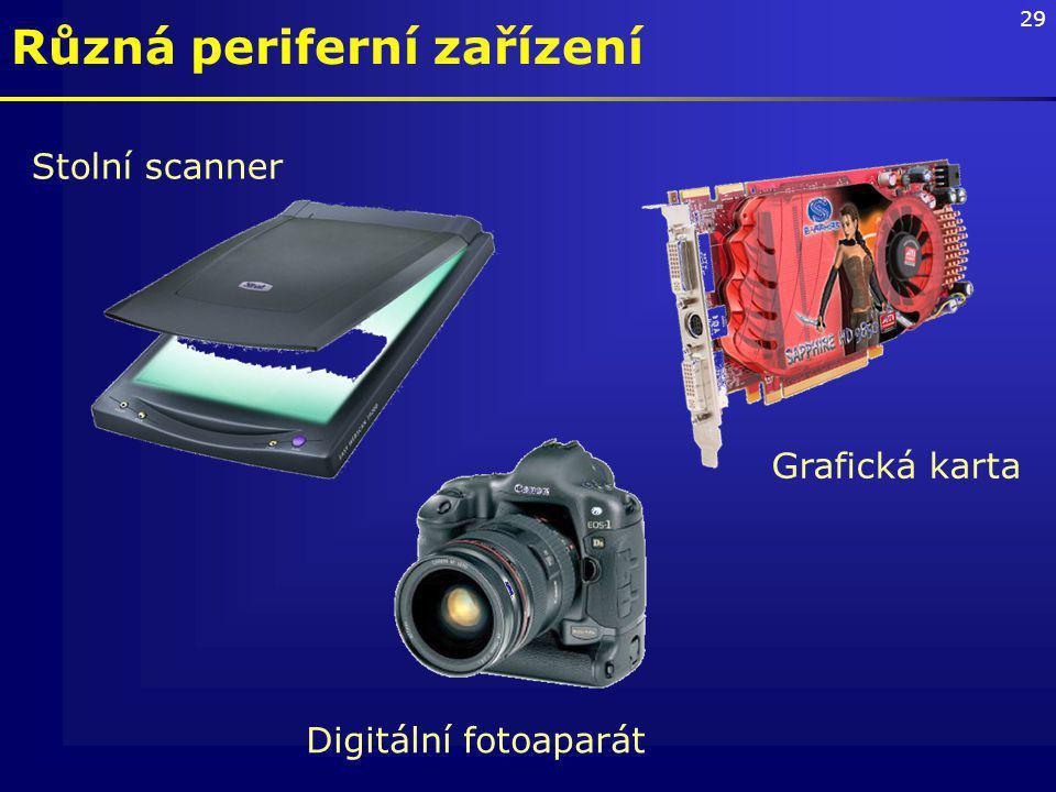 29 Různá periferní zařízení Stolní scanner Grafická karta Digitální fotoaparát