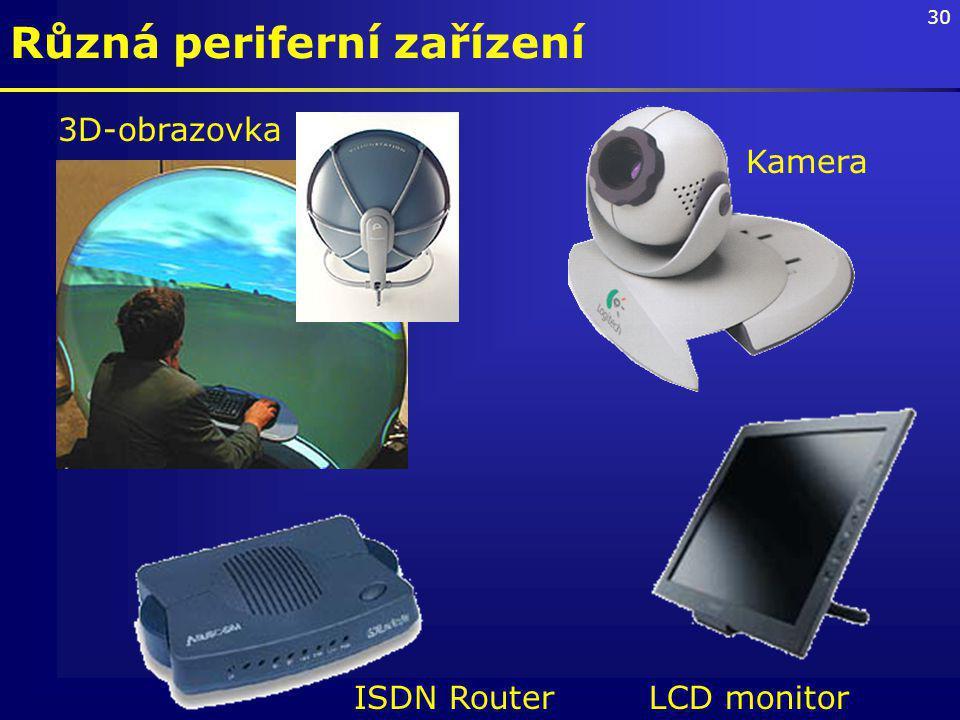 30 Různá periferní zařízení 3D-obrazovka ISDN RouterLCD monitor Kamera