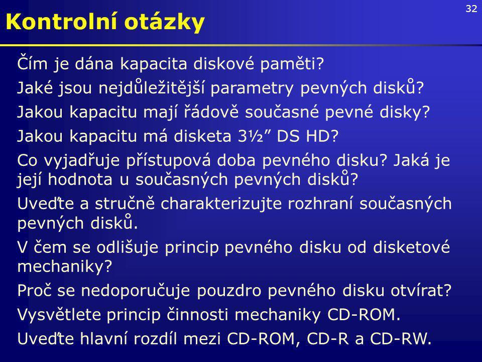 32 Čím je dána kapacita diskové paměti.Jaké jsou nejdůležitější parametry pevných disků.