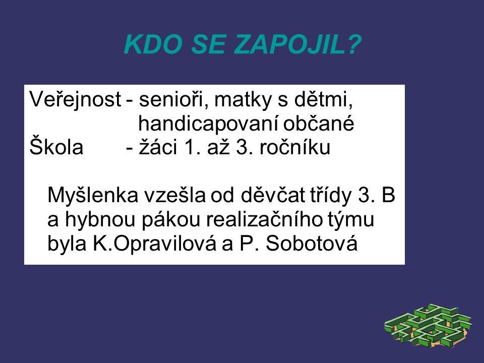 KDO SE ZAPOJIL. Veřejnost- senioři, matky s dětmi, handicapovaní občané Škola- žáci 1.