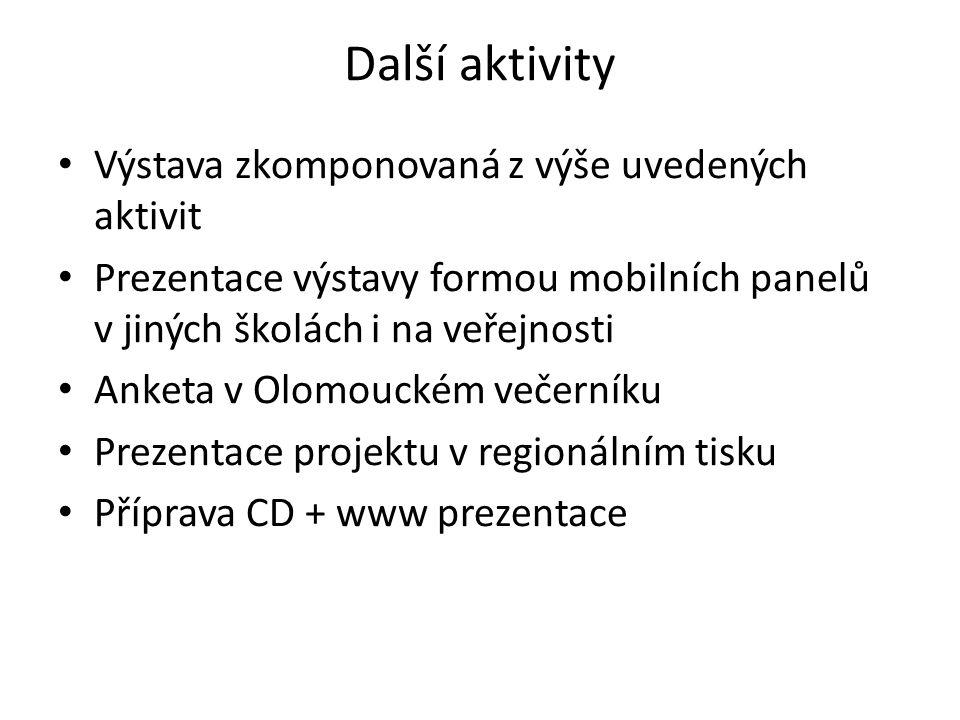 Další aktivity Výstava zkomponovaná z výše uvedených aktivit Prezentace výstavy formou mobilních panelů v jiných školách i na veřejnosti Anketa v Olomouckém večerníku Prezentace projektu v regionálním tisku Příprava CD + www prezentace