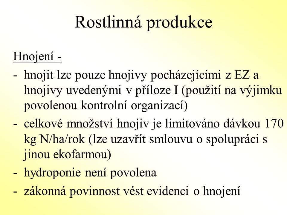 Rostlinná produkce Ochrana rostlin – -přípravky na ochranu rostlin uvedené v příloze II NK 889/2008 lze použít v případě zjištěného nebezpečí napadení rostlin na výjimku schválenou kontrolní organizací -biodynamické přípravky jsou povoleny Seznam schválených přípravků vydává Bioinstitut o.p.s.a je přístupný na www.bioinstitut.cz,www.bioinstitut.cz www.biokont.cz