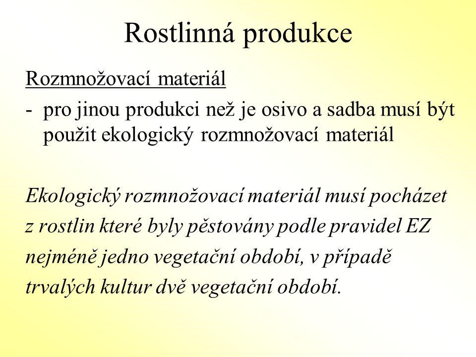 Rostlinná produkce Rozmnožovací materiál – možné výjimky na použití konvenčního nemořeného osiva/sadby): -pokud není požadovaná odrůda v obvyklé době pro objednání uvedena na seznamu vedeném ÚKZUZ (www.ukzuz.cz) - žadatel o výjimku musí prokázat, že žádná z odrůd které jsou k dispozici nesplňuje jeho požadavkywww.ukzuz.cz -pokud žádný dodavatel není schopen dodat objednané osivo včas -v případě výzkumných účelů Povolení uděluje kontrolní organizace před výsevem nebo výsadbou.