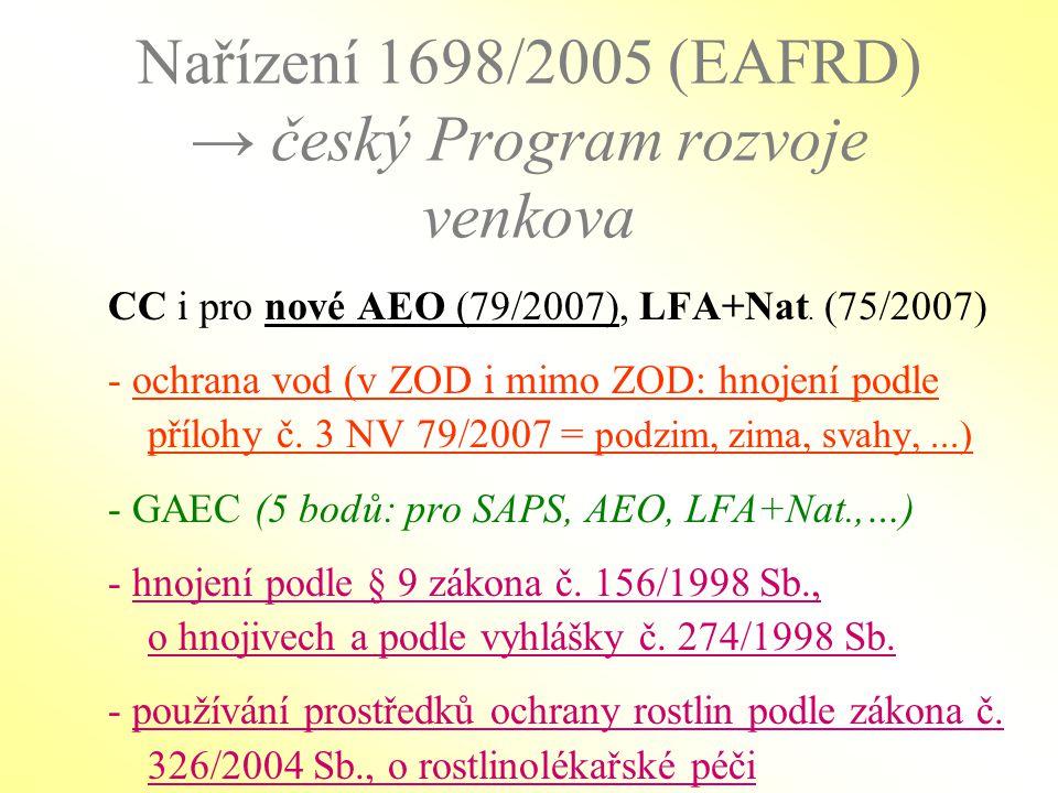 Nařízení 1698/2005 (EAFRD) → český Program rozvoje venkova CC i pro nové AEO (79/2007), LFA+Nat. (75/2007) - ochrana vod (v ZOD i mimo ZOD: hnojení po