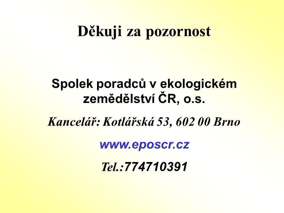 Děkuji za pozornost Spolek poradců v ekologickém zemědělství ČR, o.s. Kancelář: Kotlářská 53, 602 00 Brno www.eposcr.cz Tel.: 774710391