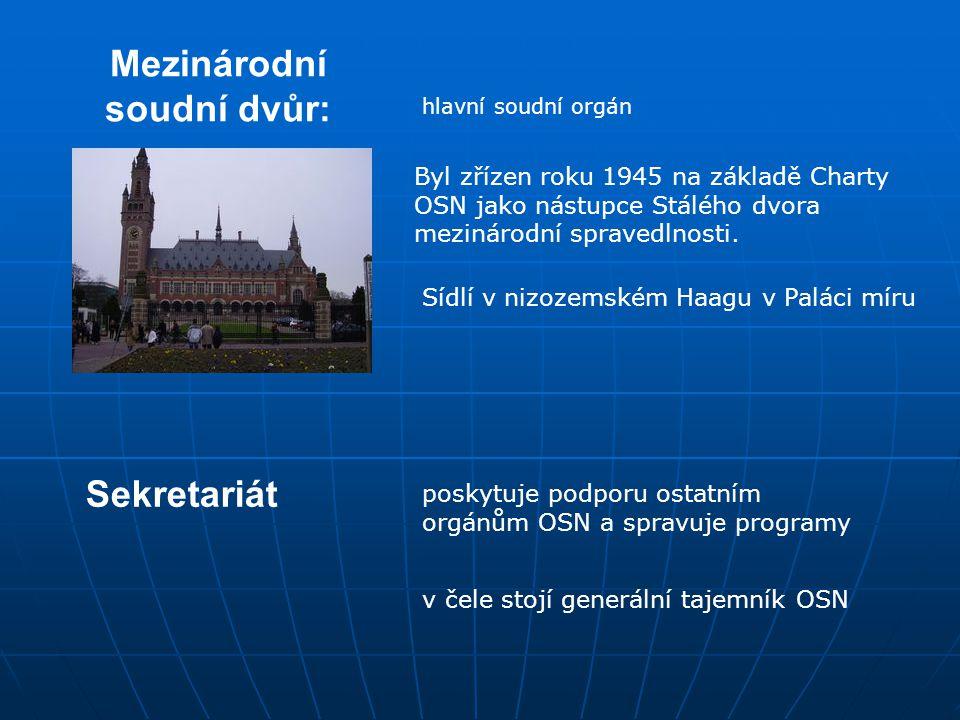 Mezinárodní soudní dvůr: hlavní soudní orgán Sídlí v nizozemském Haagu v Paláci míru Byl zřízen roku 1945 na základě Charty OSN jako nástupce Stálého