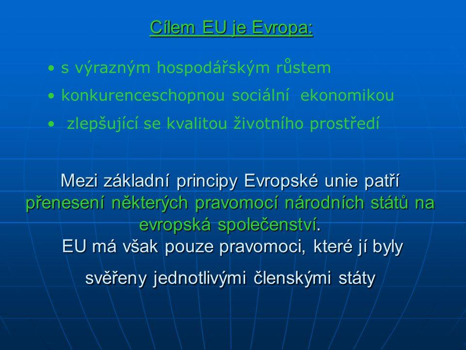 Mezi základní principy Evropské unie patří přenesení některých pravomocí národních států na evropská společenství. EU má však pouze pravomoci, které j
