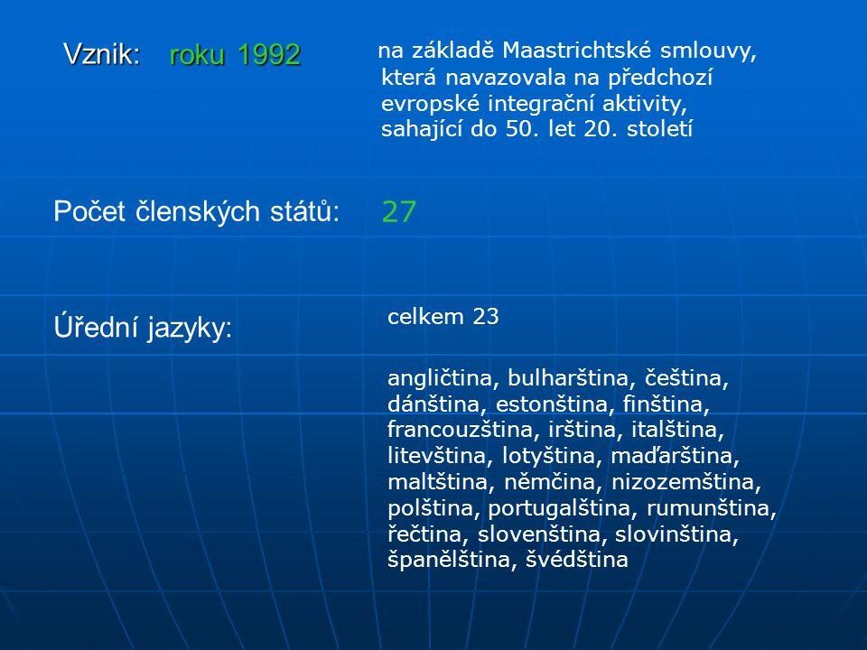 Vznik: roku 1992 na základě Maastrichtské smlouvy, která navazovala na předchozí evropské integrační aktivity, sahající do 50. let 20. století Počet č