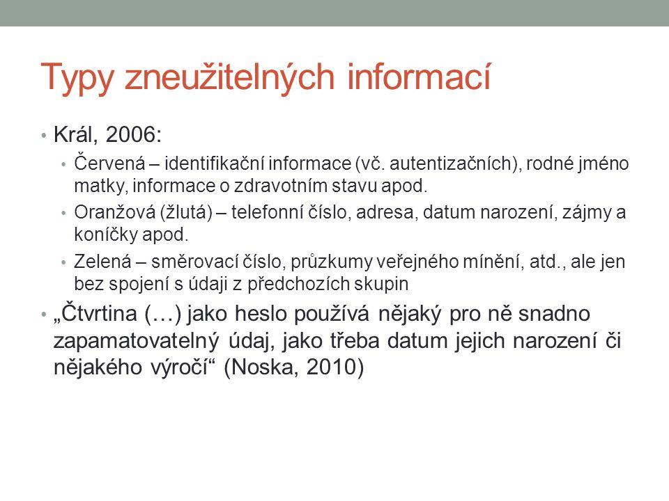 Typy zneužitelných informací Král, 2006: Červená – identifikační informace (vč. autentizačních), rodné jméno matky, informace o zdravotním stavu apod.