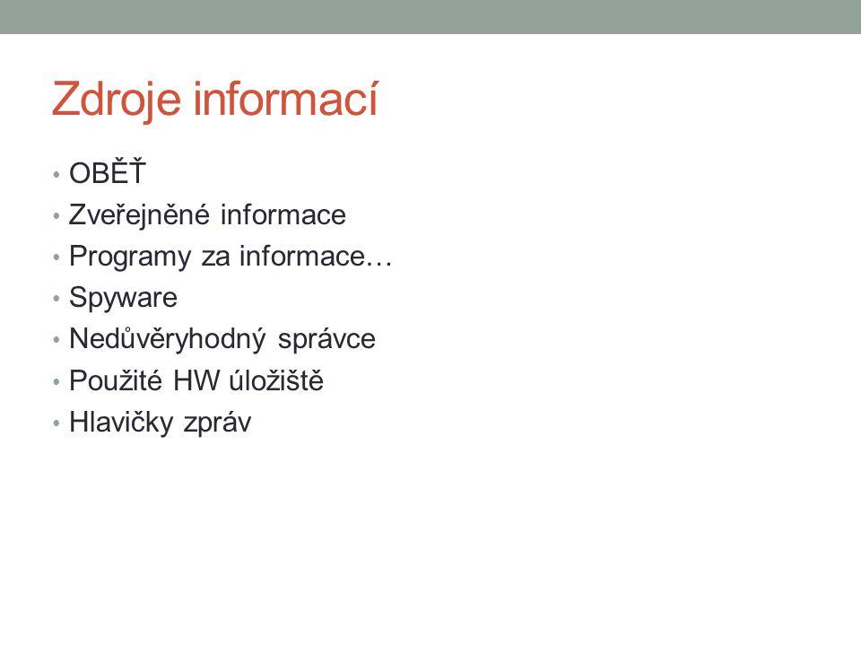 Zdroje informací OBĚŤ Zveřejněné informace Programy za informace… Spyware Nedůvěryhodný správce Použité HW úložiště Hlavičky zpráv