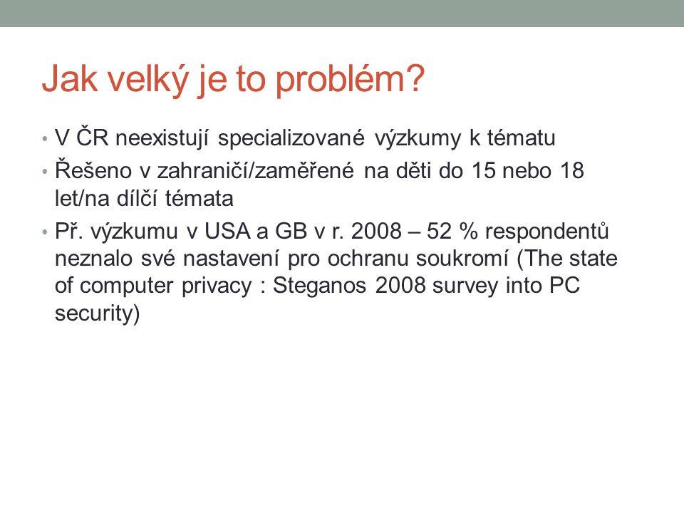Jak velký je to problém? V ČR neexistují specializované výzkumy k tématu Řešeno v zahraničí/zaměřené na děti do 15 nebo 18 let/na dílčí témata Př. výz