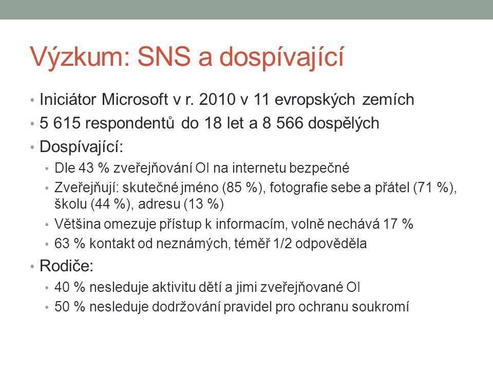 Výzkum: SNS a dospívající Iniciátor Microsoft v r. 2010 v 11 evropských zemích 5 615 respondentů do 18 let a 8 566 dospělých Dospívající: Dle 43 % zve