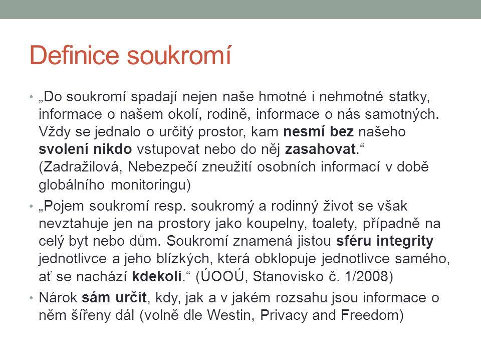 """Definice soukromí """"Do soukromí spadají nejen naše hmotné i nehmotné statky, informace o našem okolí, rodině, informace o nás samotných. Vždy se jednal"""