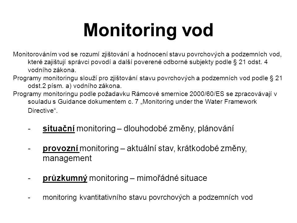 Monitorováním vod se rozumí zjištování a hodnocení stavu povrchových a podzemních vod, které zajištují správci povodí a další poverené odborné subjekt