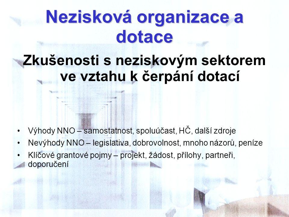 Nezisková organizace a dotace Zkušenosti s neziskovým sektorem ve vztahu k čerpání dotací Výhody NNO – samostatnost, spoluúčast, HČ, další zdroje Nevý