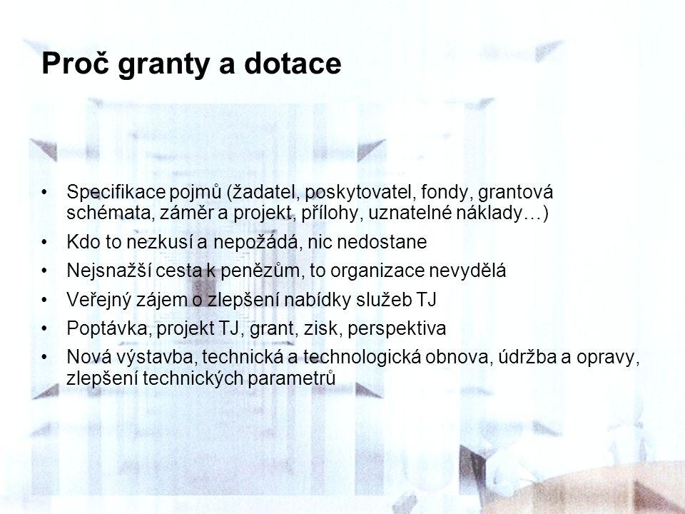 Proč granty a dotace Specifikace pojmů (žadatel, poskytovatel, fondy, grantová schémata, záměr a projekt, přílohy, uznatelné náklady…) Kdo to nezkusí