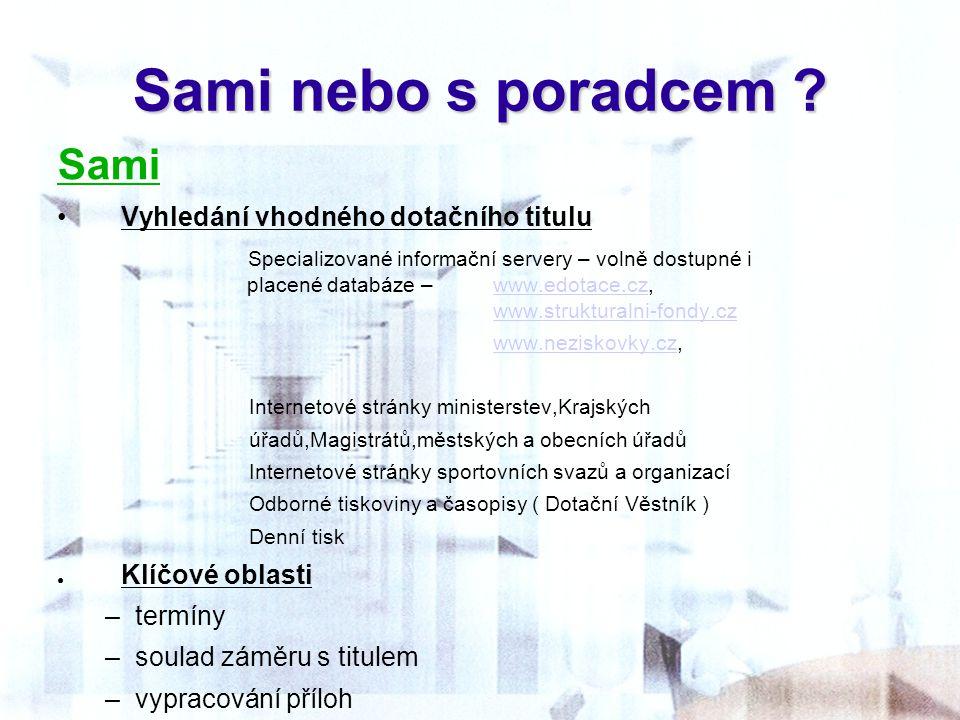 Sami nebo s poradcem ? Sami Vyhledání vhodného dotačního titulu Specializované informační servery – volně dostupné i placené databáze – www.edotace.cz