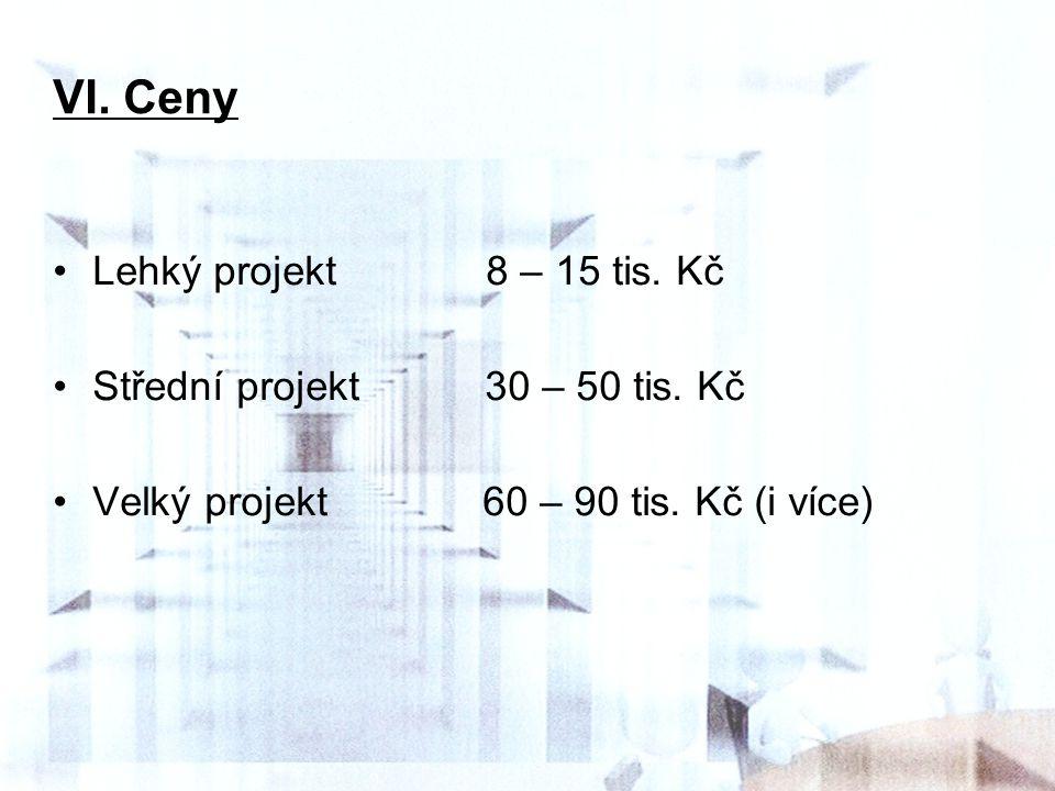 VI. Ceny Lehký projekt 8 – 15 tis. Kč Střední projekt 30 – 50 tis. Kč Velký projekt 60 – 90 tis. Kč (i více)